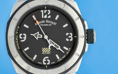 Armand Nicolet - Automatic S05-3 Diver Military Black Dial with Hand Made Leather Strap Swiss Made- A713PGN-NR-P160MR4- Men - Brand New