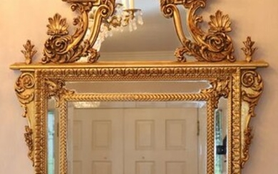 "BAROQUE STYLE GILT CARVED WOOD MIRROR, H 60"" W 40"""