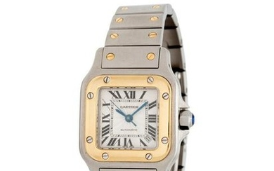 CARTIER, STAINLESS STEEL AND 18K YELLOW GOLD REF. 2423
