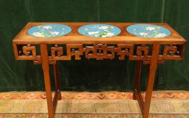 CHINA, Carved wood table decorated on the top...
