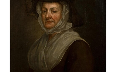 CIRCLE OF WILLIAM HOGARTH (BRITISH 1697 - 1764) PORTRAIT OF A LADY IN A BONNET