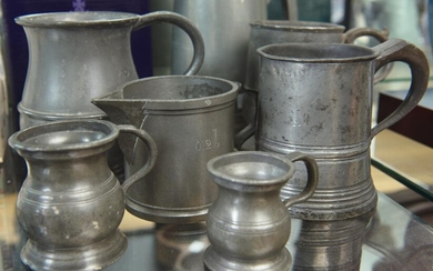 COLLECTION OF SEVEN PEWTER PIECES INCLUDING LIBERTY