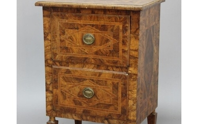 CONTINENTAL WALNUT AND INLAID TWO DRAWER CHEST, late 18th or...