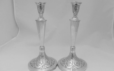 Candlestick, Pair of solid silver high candlesticks (2) - .800 silver - Austria - First half 20th century