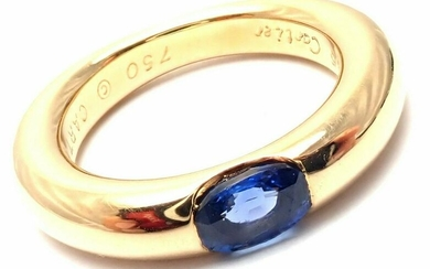 Cartier 18k Yellow Gold Sapphire Ellipse Band Ring Size