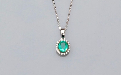 Chain and pendant in white gold, 750 MM, decorated with an oval emerald weighing 0.72 carat in a row of diamonds, length 40 cm, 15 x 8 mm, weight: 1.9gr. rough.