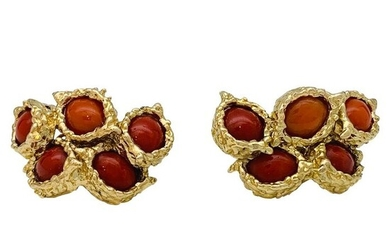 Chaumet - 18 kt. Yellow gold - Earrings CORAL
