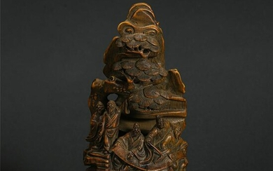 Chinese Bamboo Carved Figure Story Ornament