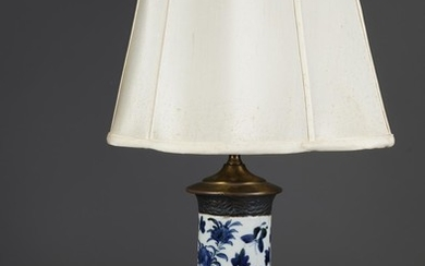 Chinese Blue and White Porcelain Cylinder Vase Mounted as a Lamp, 20th Century FR3SHLM