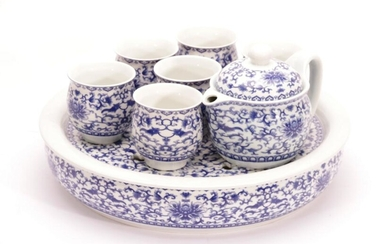 Chinese Blue & White Tea Set on Stand (D: 30cm)