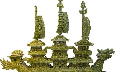 Chinese Faux Jade Palace Boat