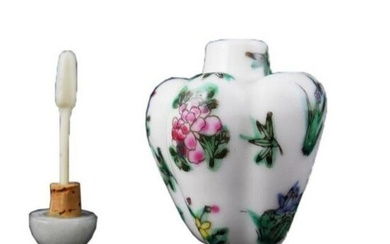 Chinese Hand-Painted Porcelain Floral Melon Snuff