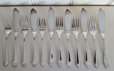 Christofle 6 piece silver plated fish cutlery model Japonais - Silverplate - France - Second half 20th century