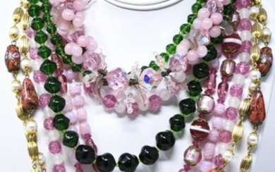 Collection of Vintage Art Glass Bead Necklaces