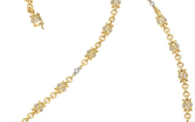 Diamond, Platinum, Gold Necklace The necklace features full-cut diamonds...