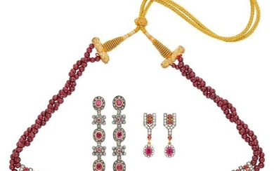 Double Strand Garnet Bead, Gold, Silver, Ruby and Diamond Necklace with Cord and Two Pairs of Pendant-Earrings