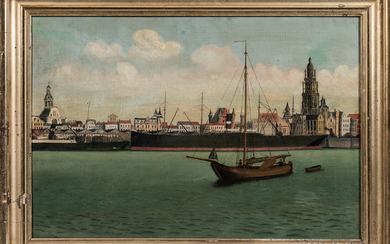 Dutch School, 19th Century Dutch Waterfront Scene, Thought to be Haarlem