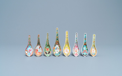 Eight Chinese Canton famille rose and polychrome spoons, 19/20th C.