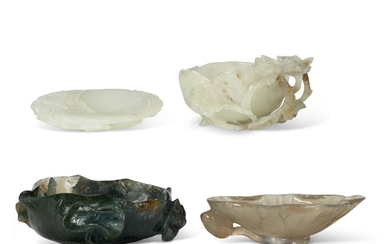 FOUR CARVED JADE AND AGATE VESSELS, QING DYNASTY (1644-1911)