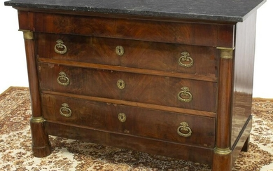 FRENCH EMPIRE STYLE MARBLE-TOP MAHOGANY COMMODE
