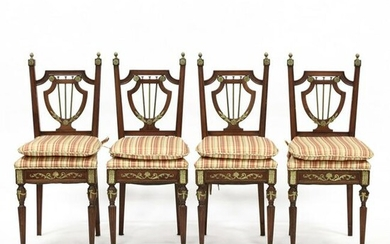 Four Louis XVI Style Carved Mahogany Side Chairs