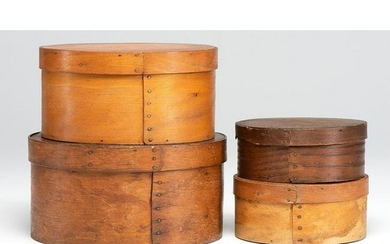 Four Round Bentwood Pantry Boxes