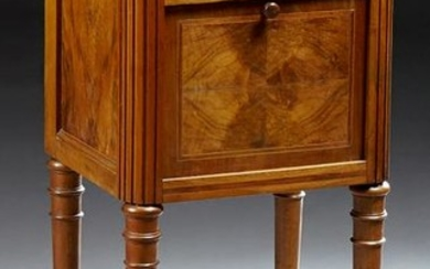 French Carved Walnut Marble Top Nightstand, c. 1870