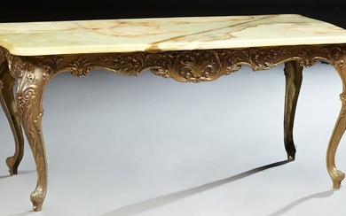 French Louis XV Style Onyx and Brass Coffee Table, 20th