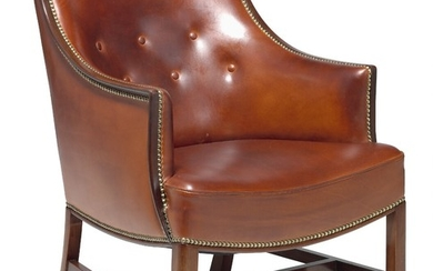 Frits Henningsen: Easy chair with mahogany frame. Sides, seat and back upholstered with cognac coloured leather, fitted with brass nails.