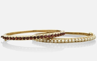 Garnet or seed pearl bangle bracelets