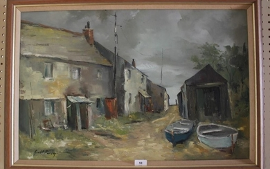Gerald Phillips Boats and Cottages oil on canvas signed 49 x...