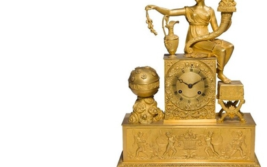 Gilt bronze clock decorated with a woman draped in Antique style holding a horn of plenty, her feet resting on a curved stool, the base with a frieze of winged children.