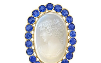 Gold-Plated White Gold, Moonstone Cameo and Sapphire Pendant