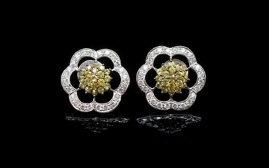 "Golden sapphire and diamond set ""flower"" earrings set in 18c..."