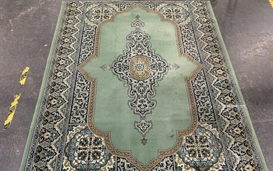 Green, Black, Cream and Blue Tone Carpet with Central Medallion (L195 x W170cm)