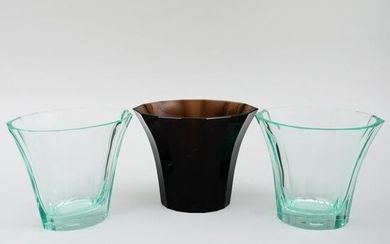 Group of Three Moser Glass Vases Produced for the Neue