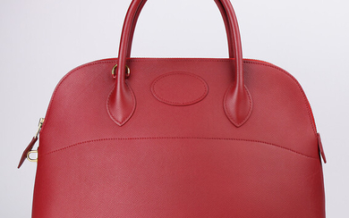 Hermes Rouge Epsom Bolide 35 with gold-plated hardware