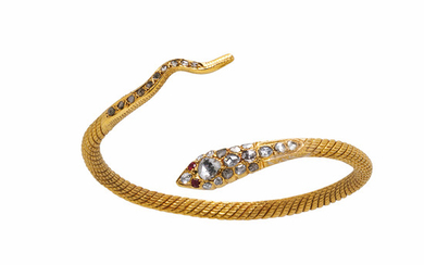 High-karat Gold and Diamond Snake Bracelet