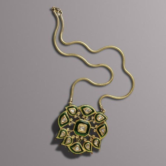 Indian, Enamel and diamond pendant necklace