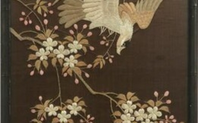 JAPANESE FLORAL SILK EMBROIDERY 19TH.C.