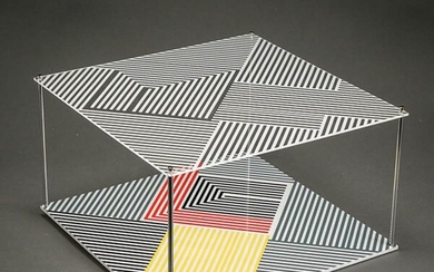 Jesús Rafael Soto (Venezuelan 1923-2005), Sotomagie, kinetic sculpture of screenprint on plexiglass with metal rods, 13 x 13 x 7 in