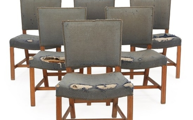 "Kaare Klint: ""Red Chair"". Set of six chairs of beech. Seat and back upholstered with nail fitted blue wool. Made by Rud. Rasmussen Cabinetmaker's, 1940s. (6)"