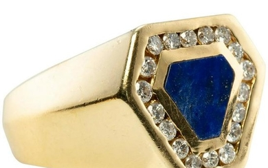 Lapis Lazuli Diamond Mens Ring 14K Yellow Gold