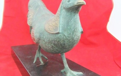 Large, unsigned, 20thC patinated bronze sculpture of a pheas...