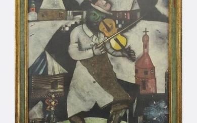 "MARC CHAGALL, ""The Violinist"" Museum Print with Label"
