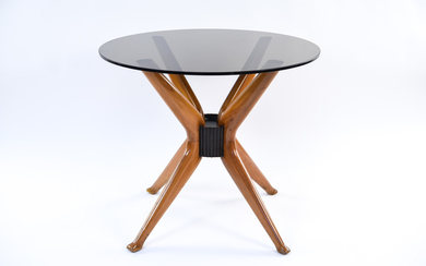 MID-CENTURY SPLAYED LEG WOOD AND GLASS SIDE TABLE