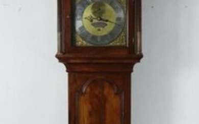 Mahogany and mahogany veneer floor clock.