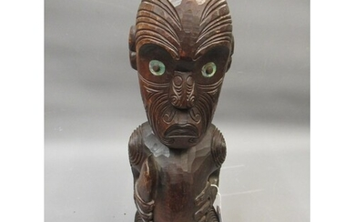 Maori native carved wooden standing figure of a warrior with...