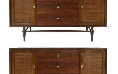 Mid-Century Modern Floating Cabinet with Reed Clad