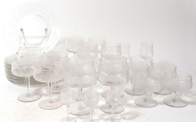 Mid-Century Modern Floral Etched Glassware, 33 Pcs